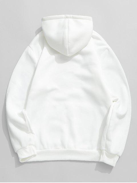 buy Solid Pouch Pocket Fleece Hoodie - WHITE M Mobile