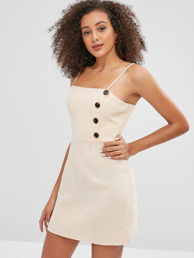 b72341f20d ... ZAFUL Buttoned Cami Mini Dress - Blanched Almond S HOT
