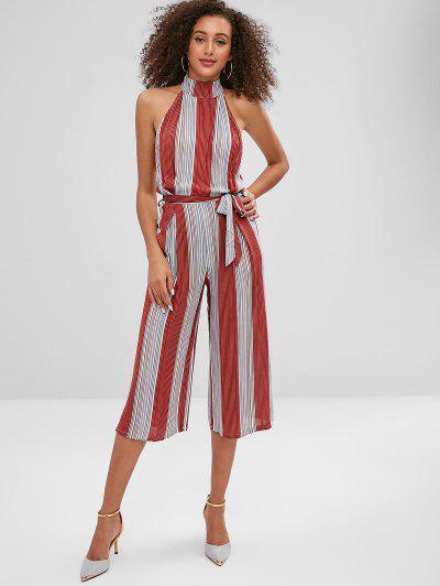 537ad7a703b Sleeveless Stripes Wide Leg Jumpsuit - Multi S
