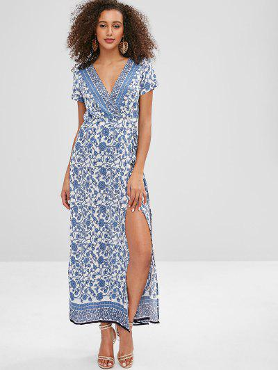 31622fc3340 Porcelain Floral Print Wrap Maxi Tea Dress - Multi L ...