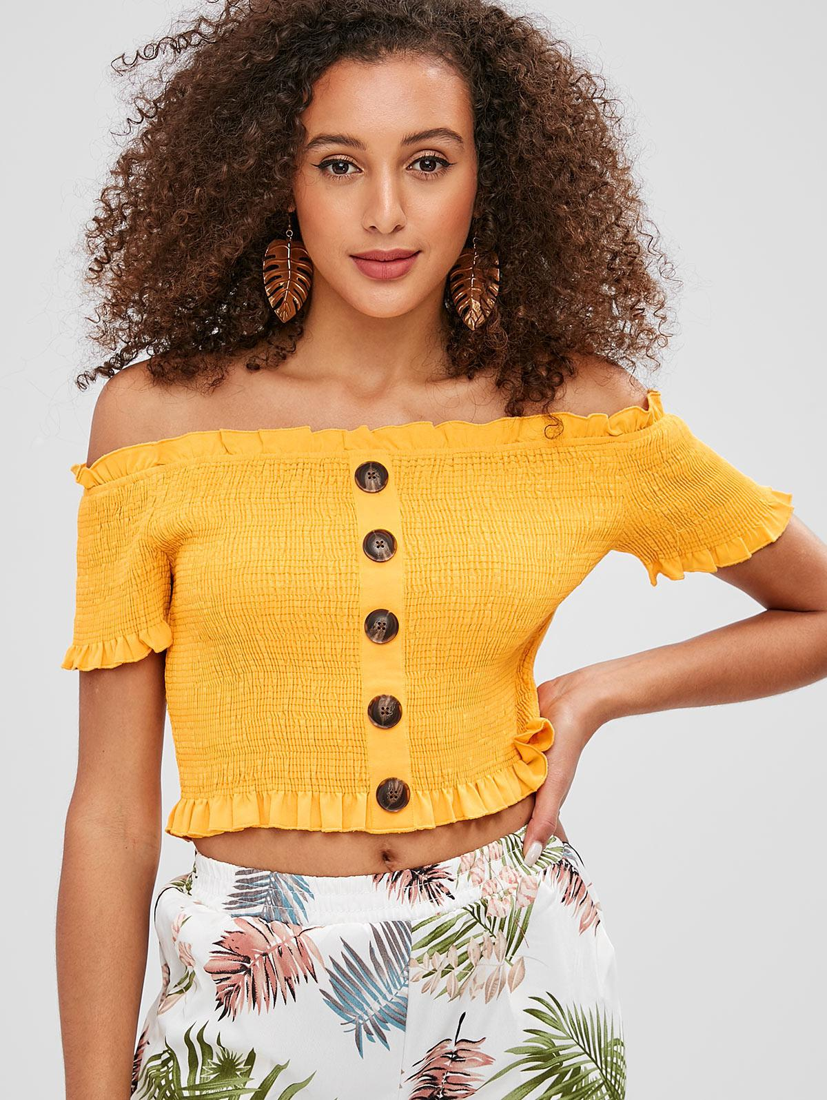 ZAFUL Buttons Embellished Smocked Crop Blouse, Bee yellow