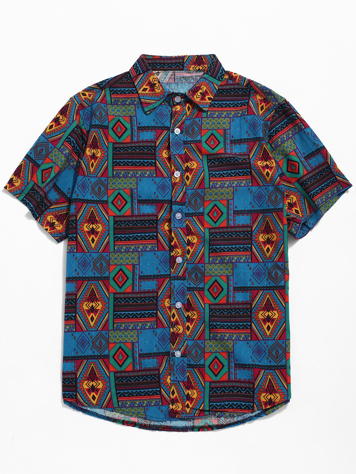 Ethnic Tribal Geometric Print Short Sleeves Shirt фото