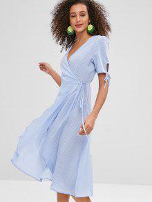 فستان بنمط قميص من ZAFUL Plunge Midi Polka Dot - ردة الذرة الأزرق M