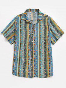 قميص جاكار بطبعات - أزرق L