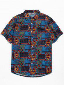 القبلية العرقية طباعة هندسية قميص بأكمام قصيرة - أزرق M