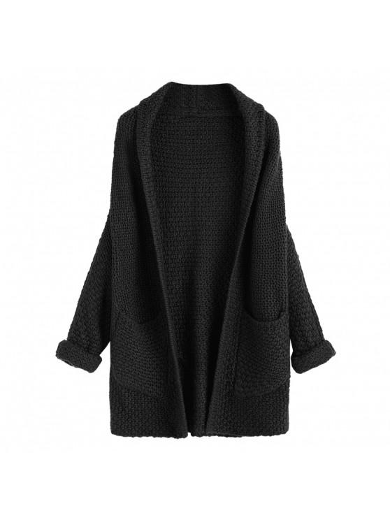 new Curled Sleeve Batwing Open Front Cardigan - BLACK ONE SIZE