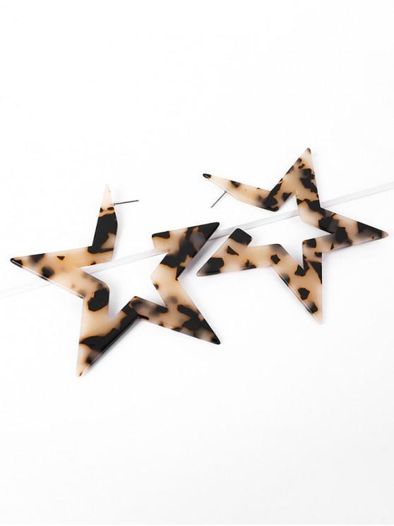 womens Leopard Pattern Animal Print Star Shape Statement Earrings - SANDY BROWN