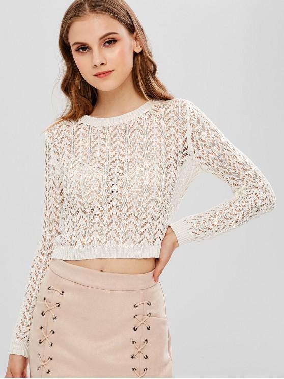 best ZAFUL Crochet Open Knit Sweater - MILK WHITE L