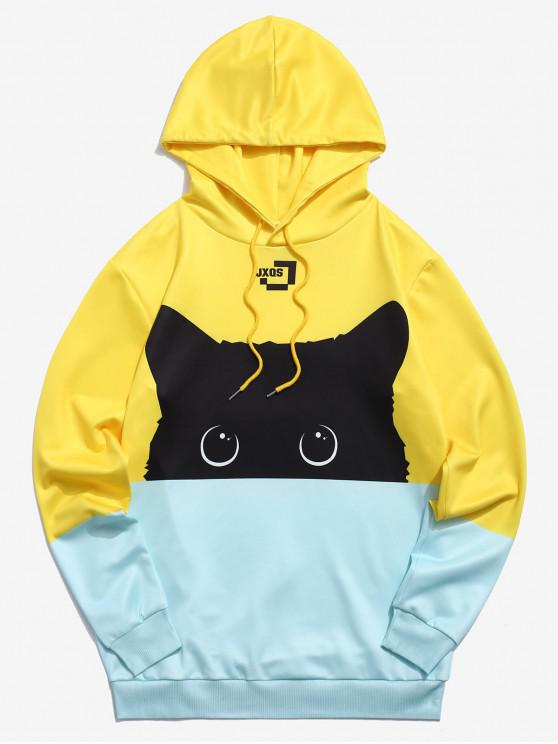 affordable ZAFUL Color Block Cat Print Hoodie - YELLOW L