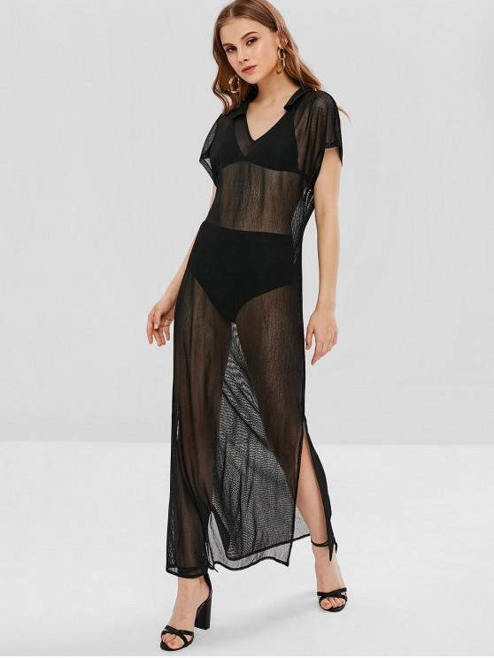 lady See Thru Slit Maxi Poncho Dress - BLACK L