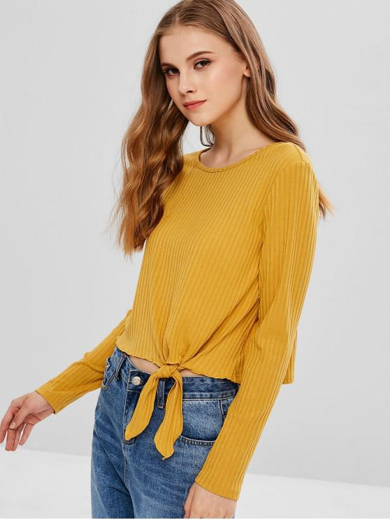 chic ZAFUL Knot Long Sleeve Knit Tee - BEE YELLOW S