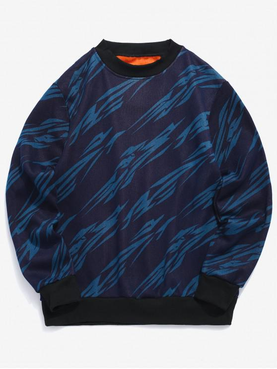 Felpa in pile con motivo geometrico - Blu Edera S