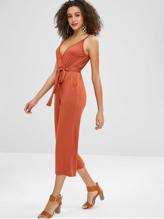 db3425a5f24 outfits Side Pockets Cami Rustic Wide Leg Jumpsuit - PAPAYA ORANGE XL