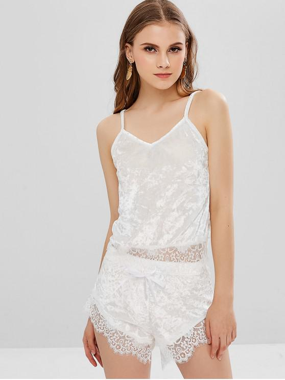 latest Lace Velvet Cami Top and Shorts Two Piece Set - WHITE XL