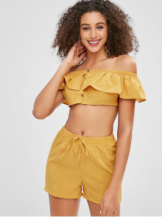 fancy Polka Dot Crop Top and Shorts Two Piece Set - MUSTARD M