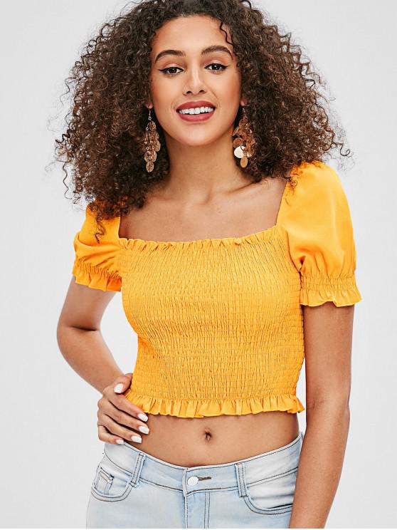 ed6d909ec3 27% OFF  2019 Neon Smocked Frill Crop Blouse In BRIGHT YELLOW L ...