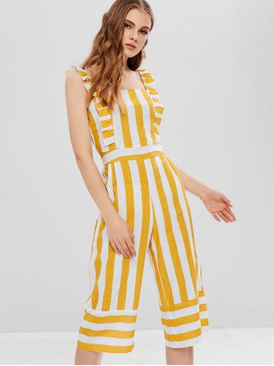 affordable ZAFUL Striped Cropped Wide Leg Jumpsuit - MULTI M