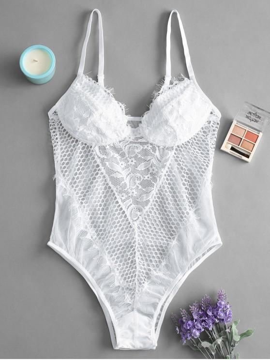 lady Lace Hollow Out Cami Lingerie Teddy - WHITE M