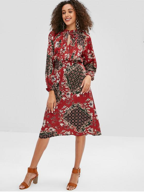 shop Floral Pleated Smocked Ruffle Neck Dress - MULTI M