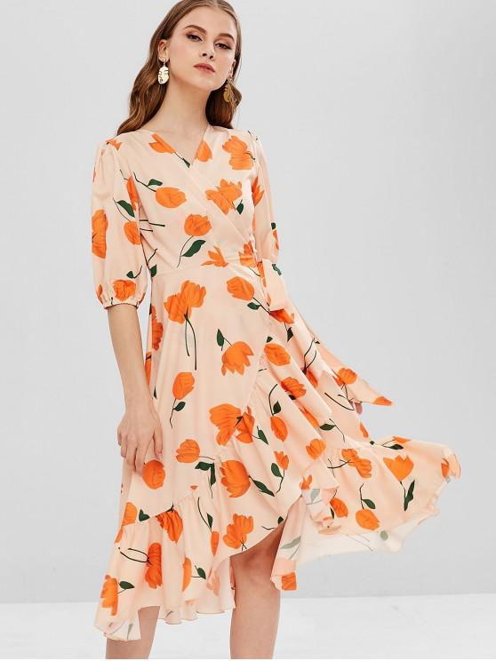 2586ced3cf 32% OFF  2019 Floral Ruffles Wrap Midi Dress In APRICOT