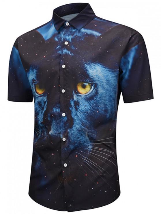 Camicia a maniche corte stampata Wolf - Blu Mezzanotte  L