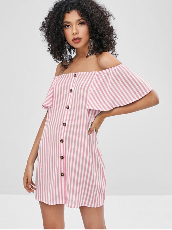 shops ZAFUL Button Up Stripes Off Shoulder Dress - FLAMINGO PINK S