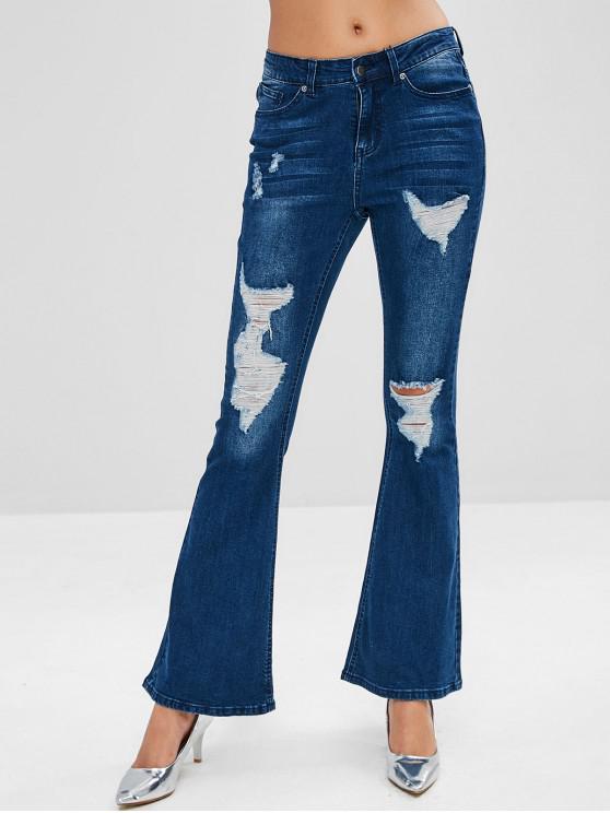 online Mid Waist Ripped Bootcut Jeans - DENIM DARK BLUE M