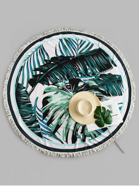 chic Tropical Leaf Fringed Beach Throw - MULTI-A ONE SIZE
