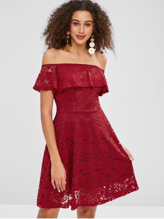 unique Lace Flounce Off Shoulder Dress - RED L