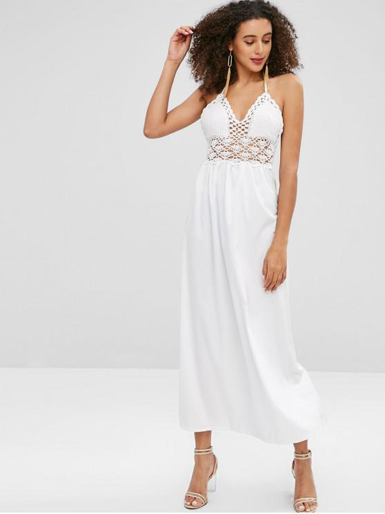 affordable Crochet Bodice Halter Maxi Beach Dress - WHITE M
