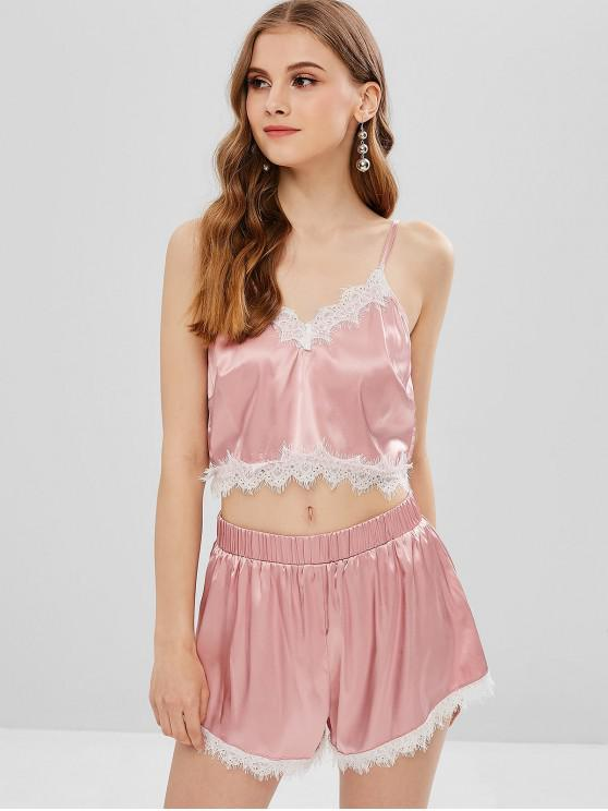 hot ZAFUL Satin Lace Insert Cami Top and Shorts Set - LIPSTICK PINK L