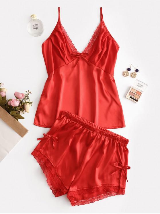 Conjunto de pijama de deslizamento bowknot inserir laço - Vermelho L