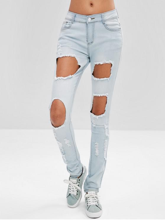 Buraco Quebrado Nove Jeans - Azul Claro M