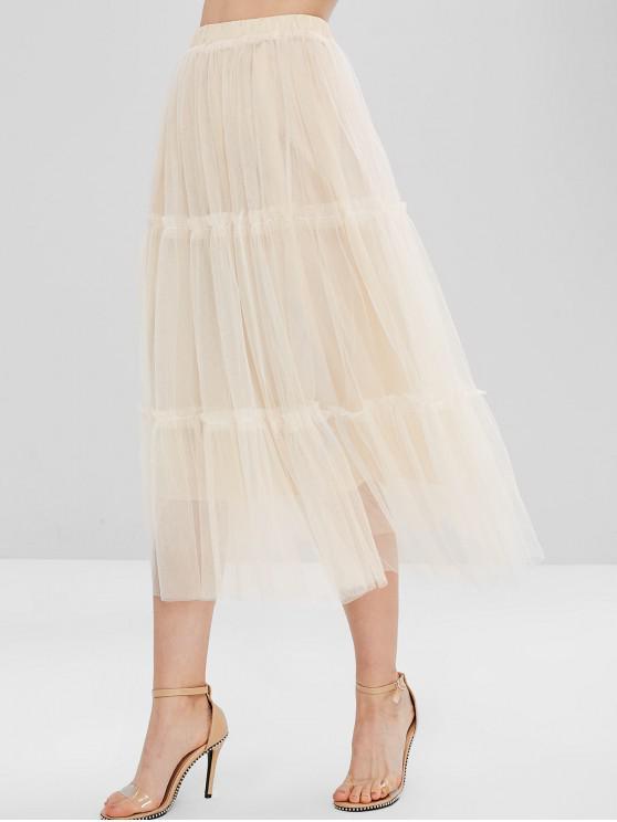lady Mesh Midi Overlay Skirt - APRICOT ONE SIZE