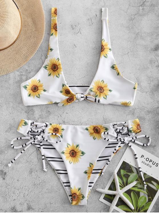 new ZAFUL Sunflower Striped Reversible Bikini Set - WHITE L