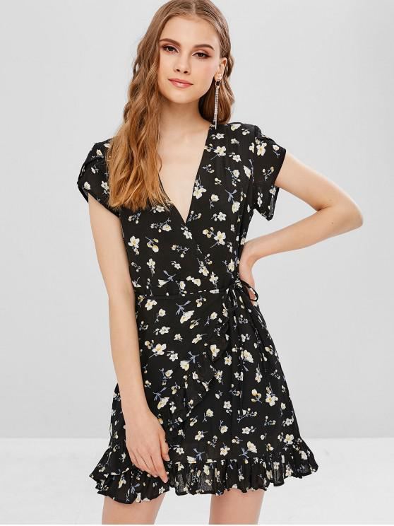 outfit Plunging Neck Floral Ruffles Dress - BLACK S