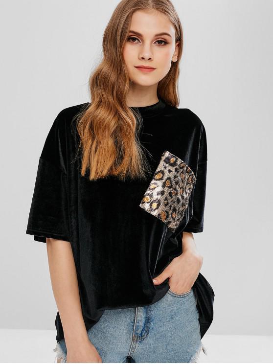 best Velvet Sequined Chest Pocket Tunic Tee - BLACK ONE SIZE