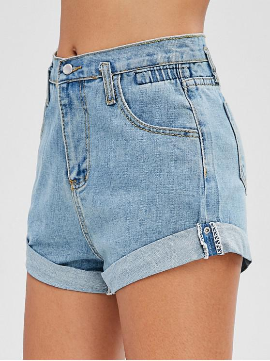 womens High Waisted Denim Cuffed Shorts - DENIM BLUE 2XL