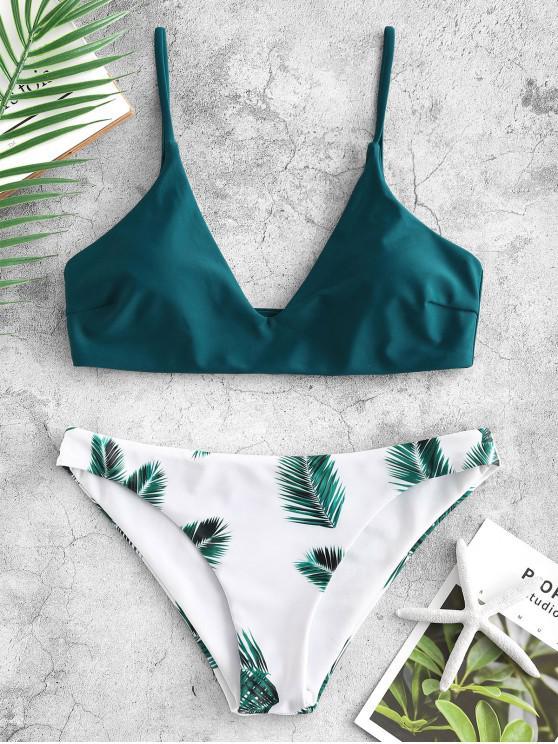 ee4372e6d93be5 21% OFF   HOT  2019 ZAFUL Leaf Print Bikini Set In PEACOCK BLUE