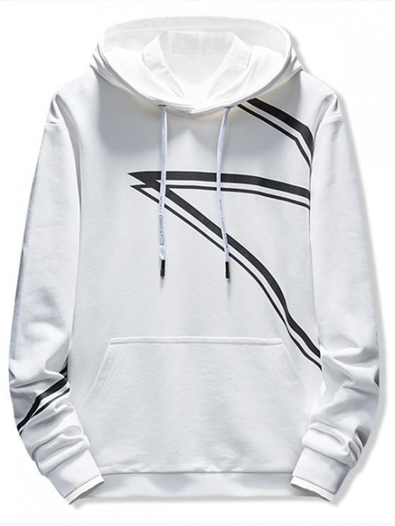 sale Contrast Stripe Print Casual Hoodie - WHITE L
