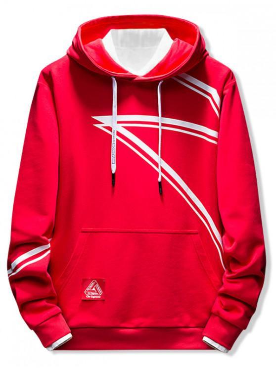 buy Contrast Stripe Print Casual Hoodie - RED S