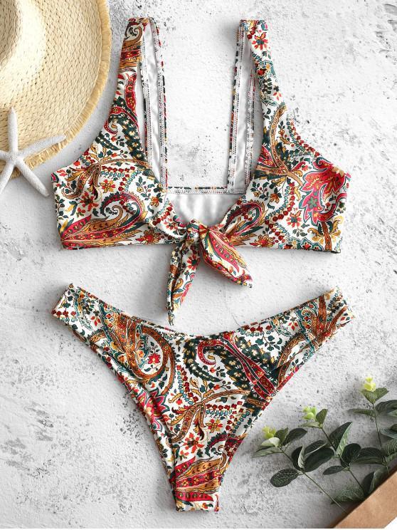 fancy ZAFUL Bohemian Flower Tied Bikini Set - MULTI-A M