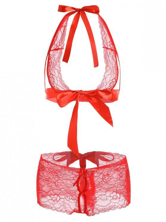 best Ribbons Lace Halter Bra Set - VALENTINE RED ONE SIZE