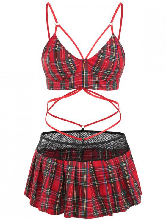 buy Plaid Strappy Cut Out Lingerie Dress - RED M
