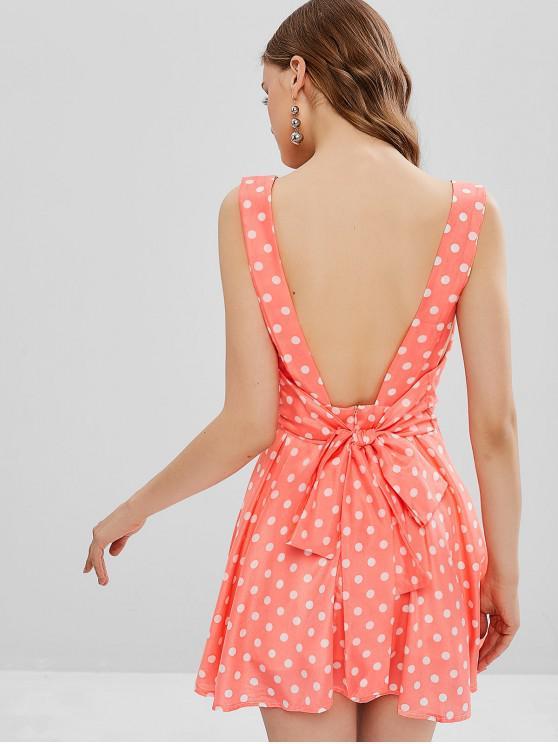 women Polka Dot Tie Back Pleated Mini Dress - MULTI L
