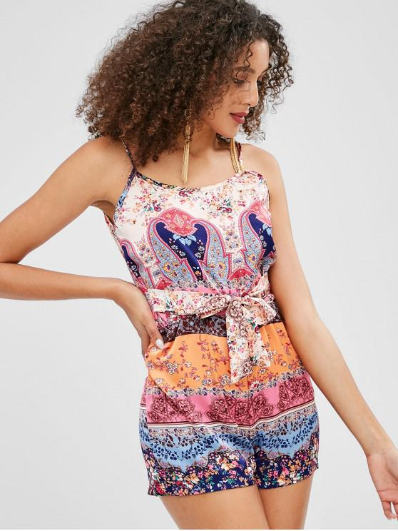 outfit Floral Print Cami Romper - MULTI XL