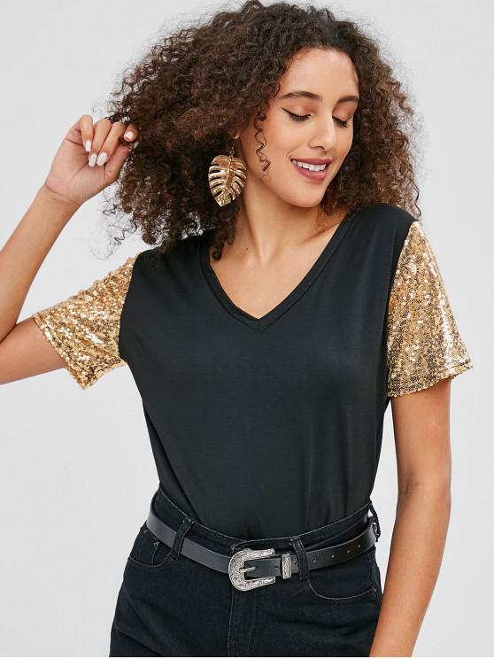 Camiseta mangas lentejuelas - Negro L