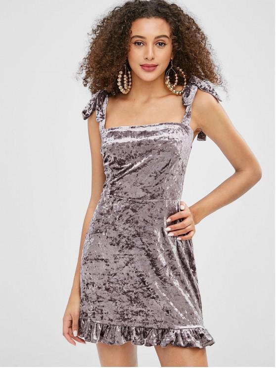 ZAFUL Velvet Tie hombro mini vestido volante - Gris L