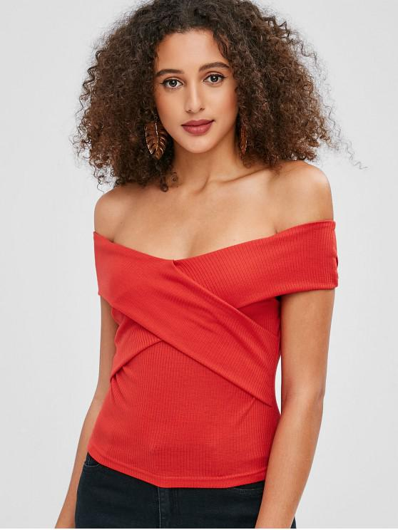new ZAFUL Off Shoulder Knit Cross Slim Tee - RED L