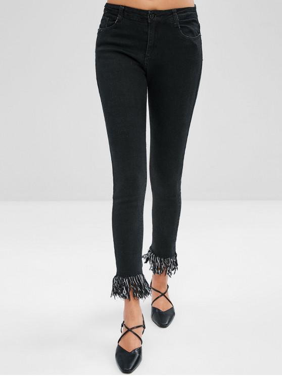 chic Frayed Hem Pencil Jeans - BLACK XL